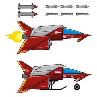 Red space fighter Vettore Premium