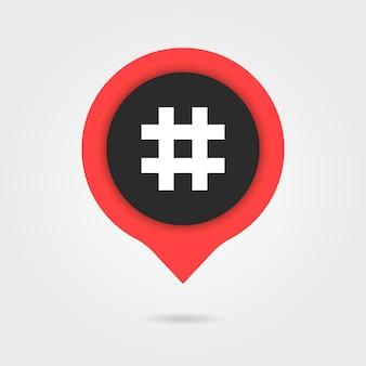 Fumetto rosso con ombra e hashtag. concetto di social media, micro blog pr, popolarità, blogger. isolato su sfondo grigio. stile piatto tendenza moderna logo design illustrazione vettoriale