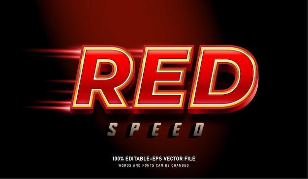 Red speed elegante testo effetto font modificabile con luce rossa