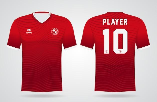 Modello di maglia sportiva rossa per le divise della squadra e il design della maglietta da calcio