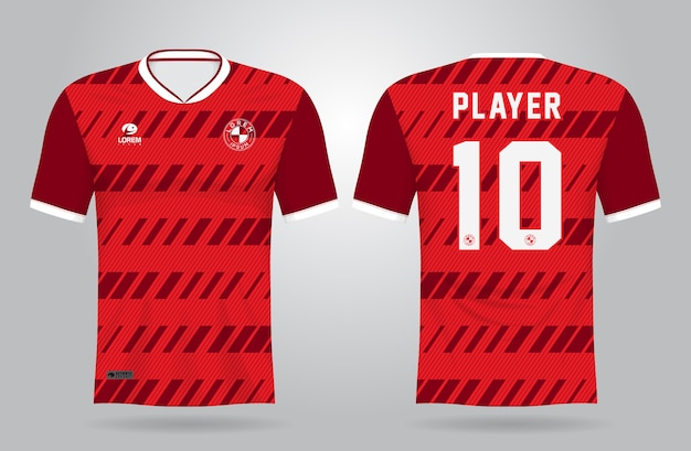 Modello di maglia sportiva rossa per le divise della squadra