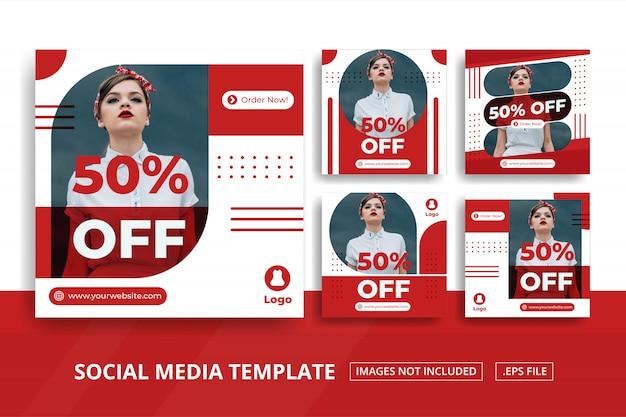 Banner quadrato rosso per social media post negozio di moda a tema online