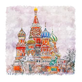 Illustrazione disegnata a mano di schizzo dell'acquerello di piazza rossa mosca russia