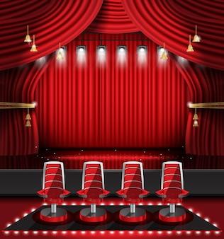 Sipario rosso con faretti e quattro sedie. illustrazione vettoriale. teatro, opera o scena cinematografica.