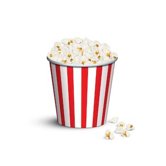Secchio per popcorn a strisce rosse.