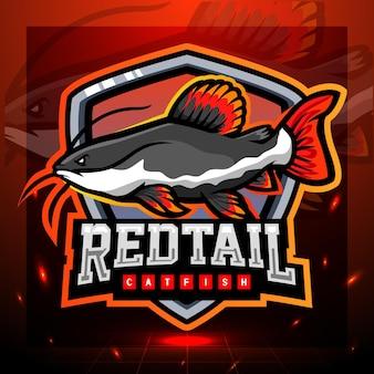 Disegno del logo esport della mascotte del pesce gatto dalla coda rossa