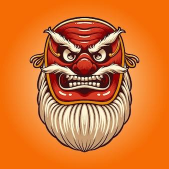 L'illustrazione della maschera di tengu rosso