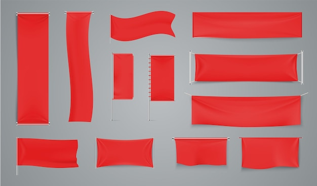 Banner pubblicitari in tessuto rosso. sventolando bandiera in tessuto su asta metallica. collezione vettoriale