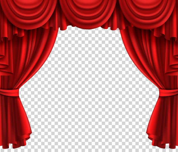 Sipario rosso del teatro. portiere glamour scena realistica su sfondo trasparente, cinema o circo drappeggio seta di lusso o velluto aperto palco vettore tende in tessuto realistico