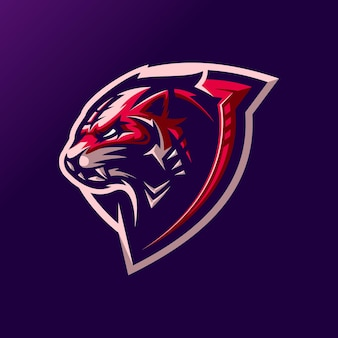 Design del logo della tigre rossa con il vettore per la modifica