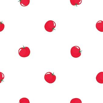Modello senza cuciture di pomodoro rosso. cibo vegetariano biologico. utilizzato per superfici di design, tessuti, tessuti, carta da imballaggio.