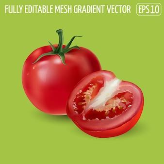 Pomodoro rosso con mezzo pomodoro su sfondo verde.
