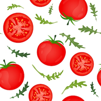 Pomodori rossi su sfondo bianco. verdura di pomodoro con foglie di rucola. seamless pattern