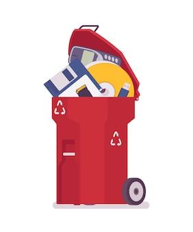 Bidone della spazzatura rosso con vecchi depositi di memoria