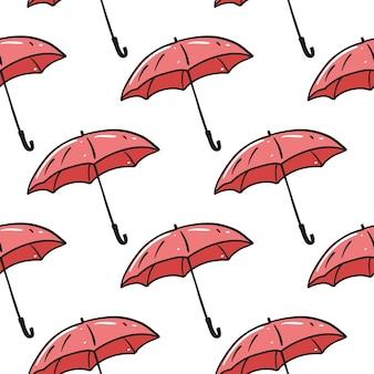 Modello senza cuciture ombrello rosso. disegnato a mano