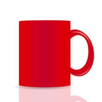 Tazza di vettore rosso isolato su sfondo bianco