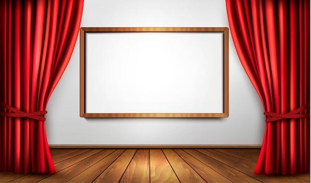 Tenda aperta di velluto rosso e pavimento in legno. modello di banner cornice bianca vuota