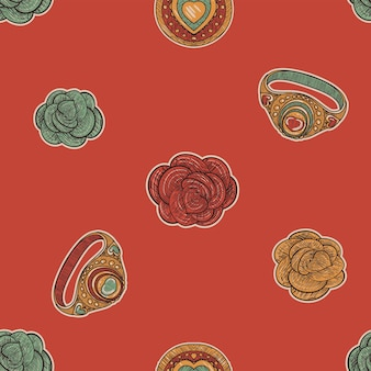 Modello senza cuciture vintage rosso. rose e anelli in stile schizzo retrò sketch
