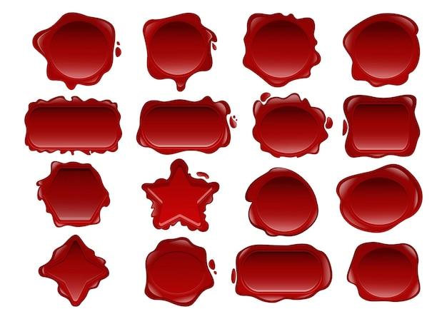 Set di illustrazioni di sigillo di cera rossa