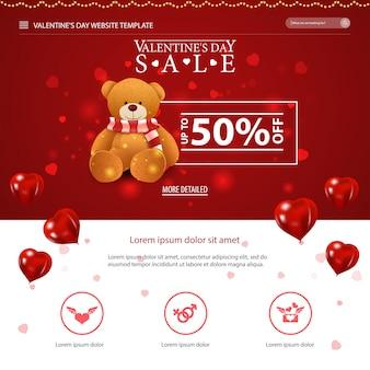 Modello di sito web rosso con design di san valentino