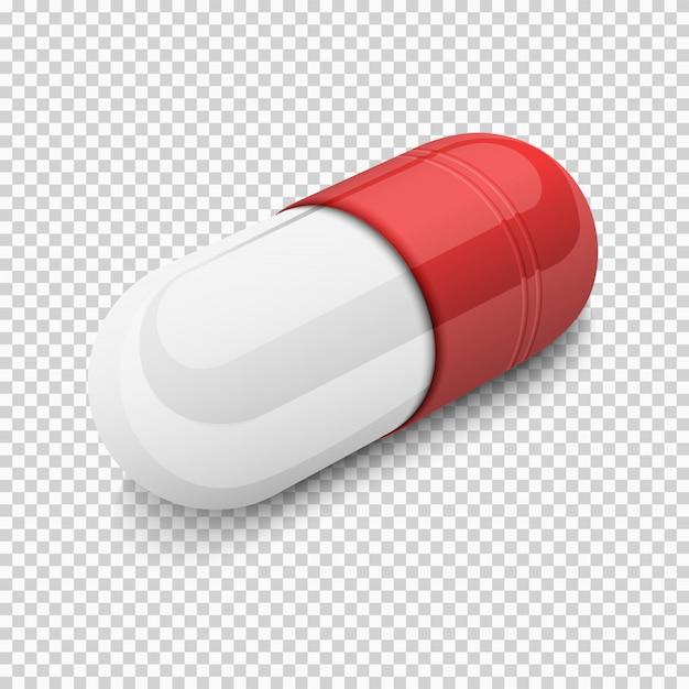 Pillola capsula bianca rossa su sfondo trasparente