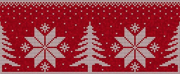 Fondo senza cuciture rosso e bianco del modello di natale con i pini ed il vettore dei fiocchi di neve