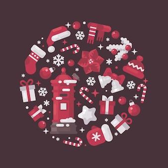 Composizione del cerchio rosso e bianco fatta da elementi di natale e capodanno