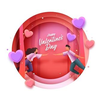 Strato di carta rosso e bianco tagliato sfondo cerchio decorato con cuori e giovani coppie che volano per il giorno di san valentino felice.