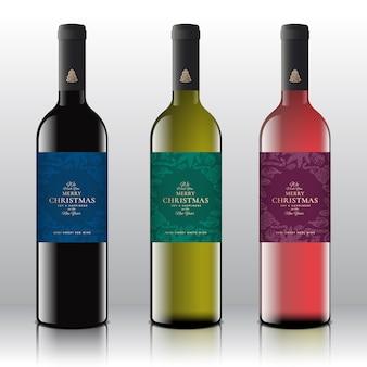 Vino rosso, bianco e rosa impostato sulle bottiglie realistiche.