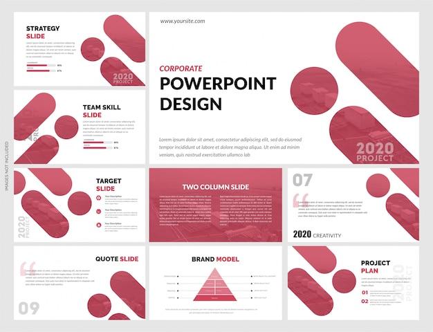 Modello di diapositive bianco rosso