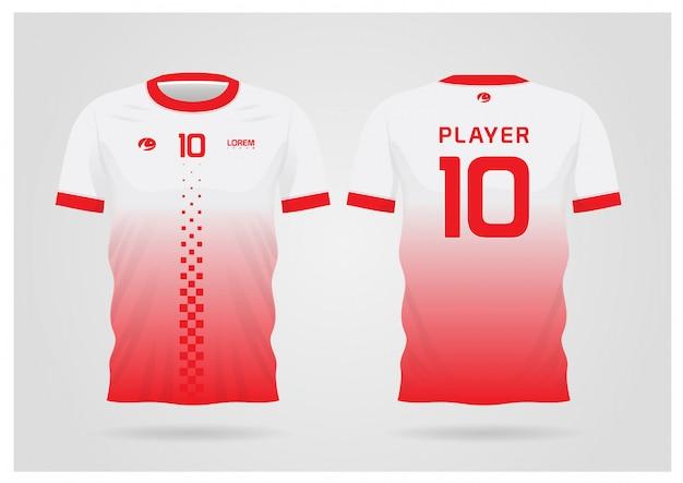 Divisa rossa della maglia da calcio bianca per la squadra di calcio, vista anteriore e posteriore della maglietta
