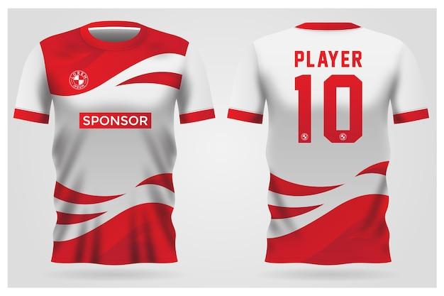 Divisa rossa della maglia da calcio bianca per la squadra di calcio, t-shirt anteriore e posteriore