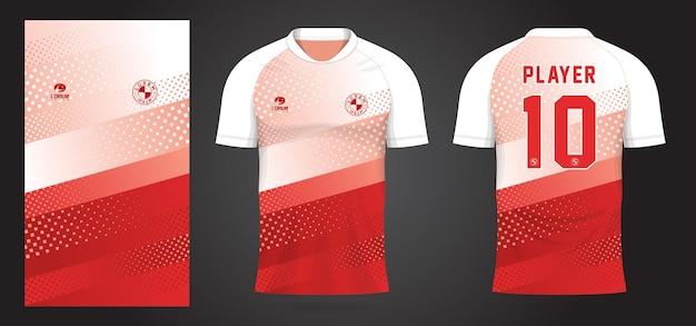 Modello di maglia sportiva bianca rossa per le divise della squadra e il design della maglietta da calcio