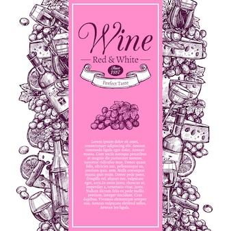 Vino rosso e bianco decorato con set di bottiglie, bicchieri da vino e snack in stile incisione disegno a mano