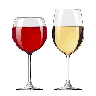 Bicchieri da vino rosso e bianco