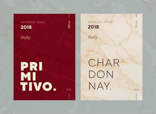 Etichetta del vino rosso e bianco. collezione speciale di vitigni di migliore qualità e nomi di marchi di vini premium etichette emblemi astratti illustrazione vettoriale isolata.