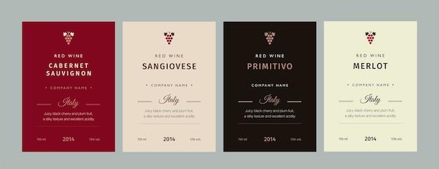 Etichetta del vino rosso e bianco. collezione speciale di vitigni della migliore qualità ed etichette di marchi di vini di alta qualità.