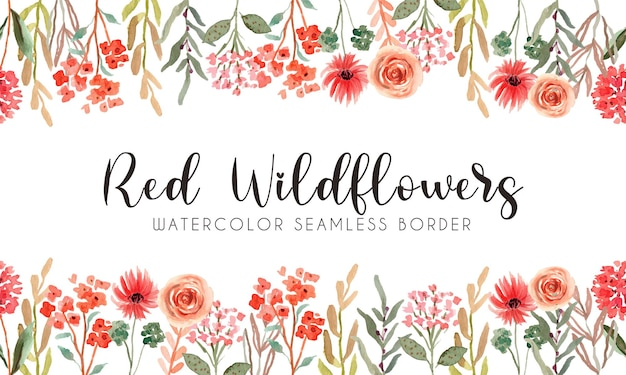 Bordo senza giunte dell'acquerello di fiori di campo rossi