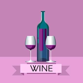Bottiglia del vino rosso con i vetri icona della bevanda dell'alcool