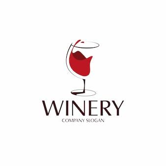 Logo del bicchiere di vino rosso Vettore Premium