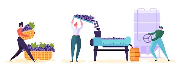 Set di caratteri della fabbrica di produzione di vino rosso