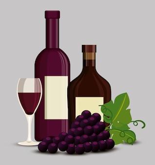 Icone del set di vino rosso