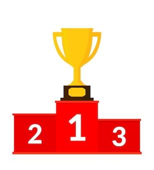 Podio rosso dei vincitori con l'illustrazione della tazza del trofeo