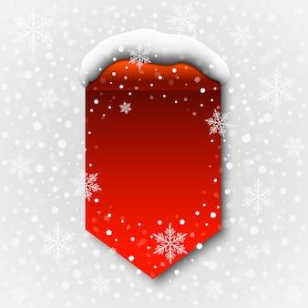 Banner rosso invernale con cappello da neve. illustrazione.