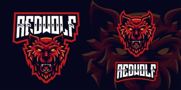 Logo della mascotte di gioco del lupo rosso per lo streamer e la community di esports