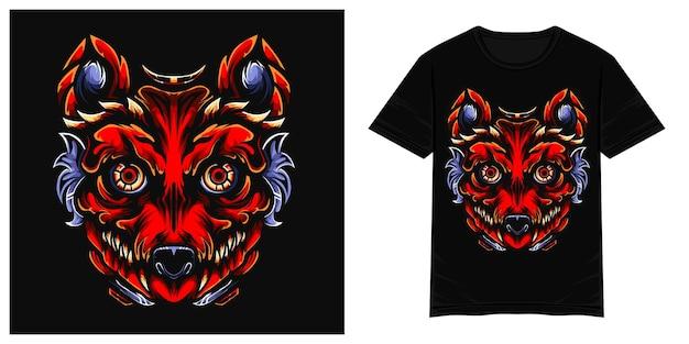 Illustrazione della maglietta di vettore del mostro del lupo rosso