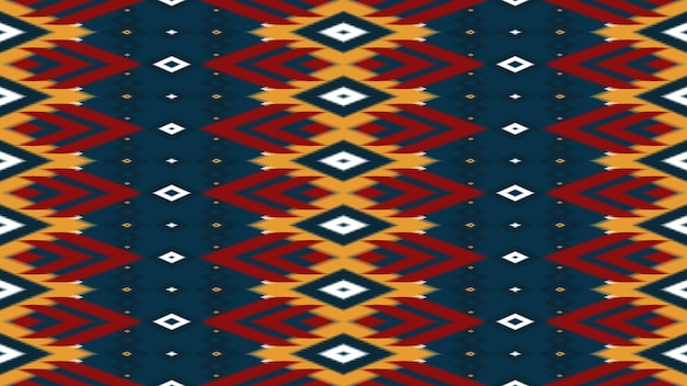 Rosso, giallo sulla marina modello tradizionale senza cuciture di ikat orientale geometrico etnico asiatico. design per sfondo, moquette, sfondo per carta da parati, abbigliamento, confezionamento, batik, tessuto. stile di ricamo. vettore