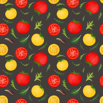 Pomodori rossi e gialli su sfondo scuro. verdura di pomodoro con foglie di lattuga e rucola. seamless pattern.