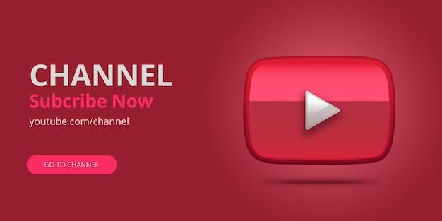 Banner di iscrizione youtube rosso con logo youtube 3d