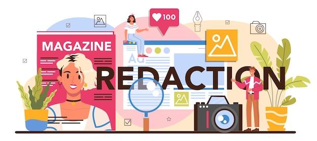 Redazione intestazione tipografica. giornalista e designer che lavora su articoli di riviste e foto. redazione di riviste, selezione dei contenuti, piano di rilascio e promozione. illustrazione vettoriale piatto isolato